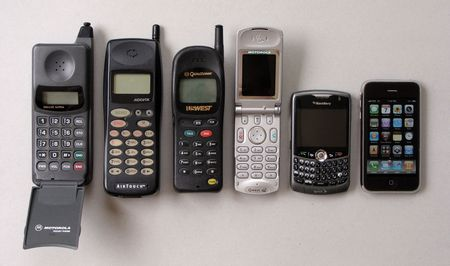 motorola old mobile phones. (left-to-right) motorola flip phone (my first cell phone) april 1997, audiovox 1998, qualcomm by us west advanced pcs september 1999, old mobile phones