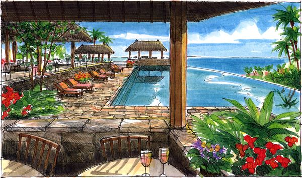 Pen And Marker Illustrations For A Tropical Resort Jim