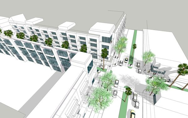 Exterior: Drawing A Downtown Scene From A SketchUp Model